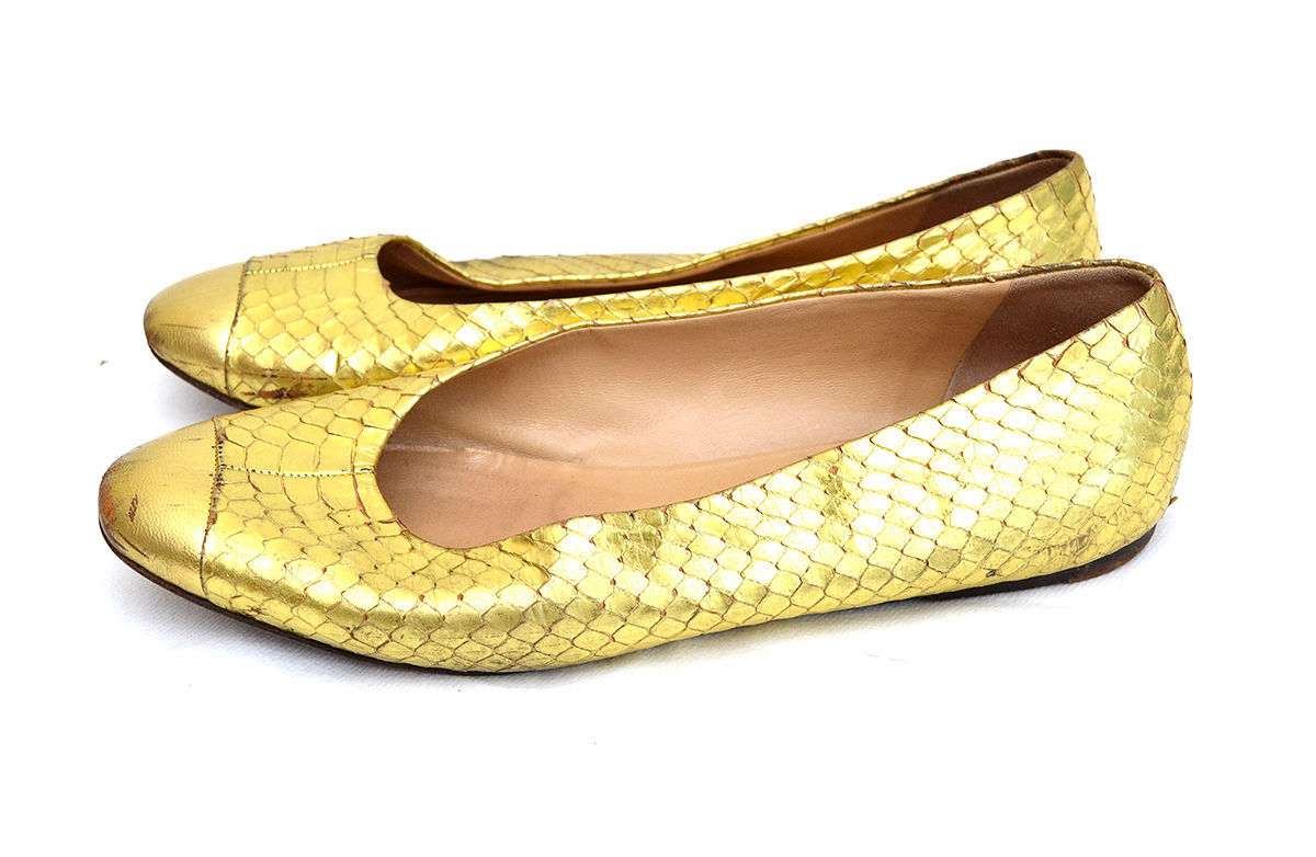 PRADA Gold-tone Python Flats - Shoes / US 7.5