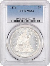1871 $1 PCGS MS64 - Frosty Type Coin - Liberty Seated Dollar - Frosty Ty... - $5,344.70