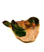 Bird Figurine Wood Look Resin Brown Green Detailed 5 inches Long   - $23.76