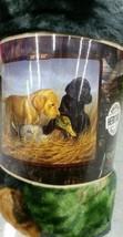 Lab Pups Puppies Dogs American Heritage Woodland Plush Raschel Throw bla... - $30.00