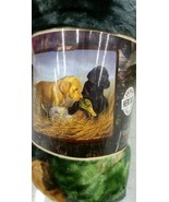 Lab Pups Puppies Dogs American Heritage Woodland Plush Raschel Throw bla... - $24.75