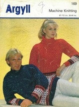 Argyll Machine Knitting Leaflet 169 HIS & HERS SKI SWEATERS Classic Desi... - $6.97