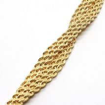 18K YELLOW GOLD BRACELET DOUBLE FLAT BRAID ROPE LINK, 7.50 INCHES, MADE IN ITALY image 5