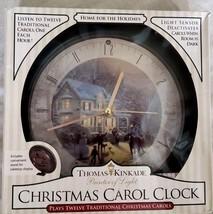 Thomas Kinkade Home for the Holidays Christmas Carol Clock Plays 12 Caro... - $17.69