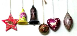 Christmas decoration ornaments paper mache bells heart star balls 6 pc p... - $49.23