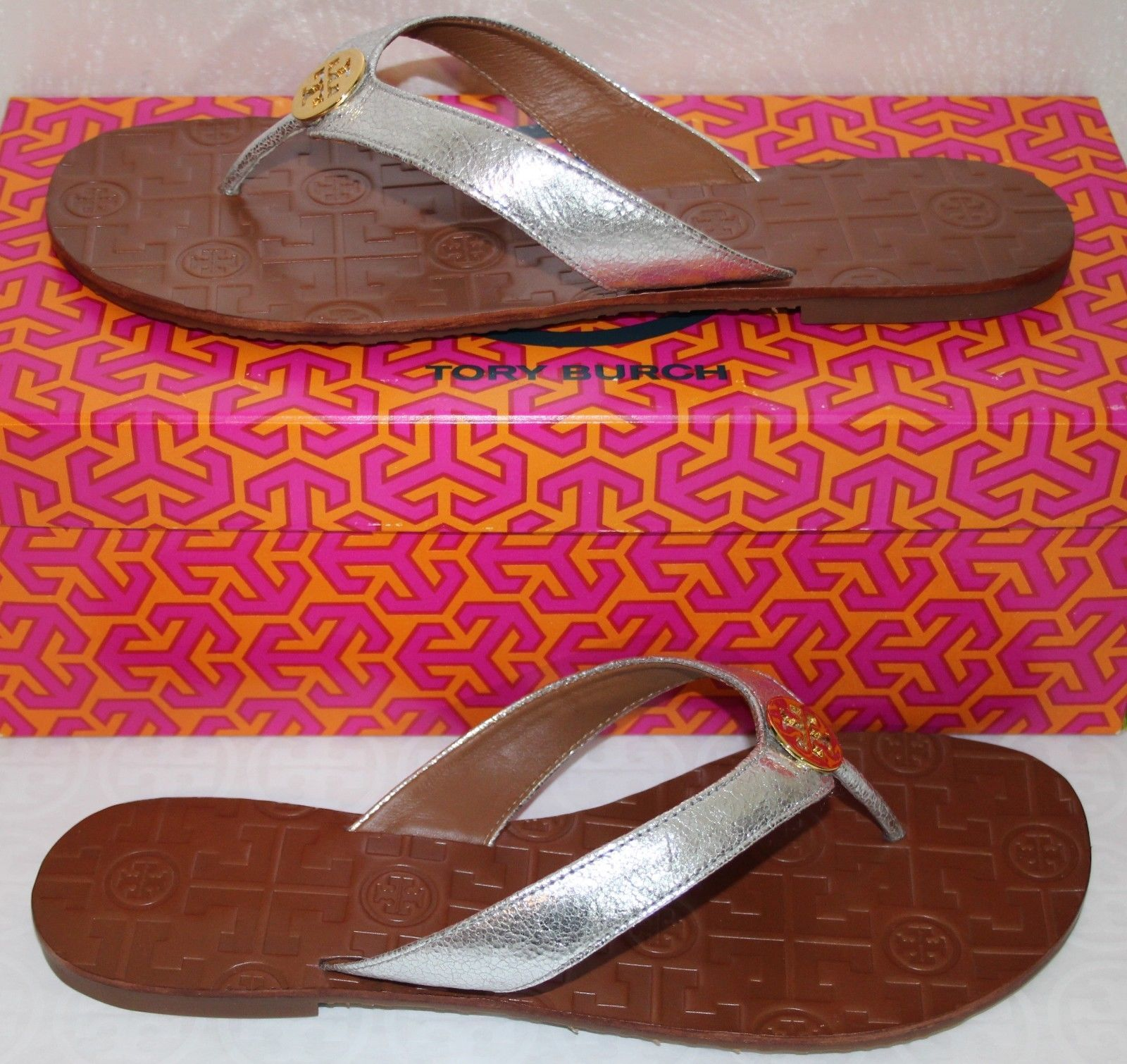 e4899279c641 Tory Burch Thora Size 8 Metallic Silver Leather Flat Thong Sandals