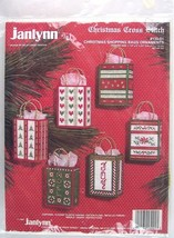 NOS Janlynn Christmas Cross Stitch Set of 6 Shopping Bags Ornaments, #13... - $19.99