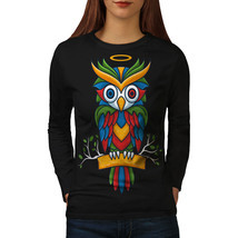 Bright Colorful Owl Tee Nature Bird Women Long Sleeve T-shirt - $14.99
