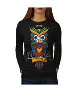 Bright Colorful Owl Tee Nature Bird Women Long Sleeve T-shirt - $14.99