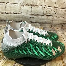 Under Armour Men's Spotlight MC Green and White Football Cleats Size 10.5 - $46.36