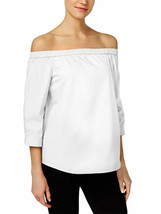 CALVIN KLEIN Size XS Cotton Off-The-Shoulder Top WHITE - $32.64