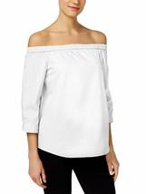 CALVIN KLEIN Size XS Cotton Off-The-Shoulder Top WHITE - $32.64