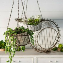 Set of 3 Iron Hanging Planter Baskets Metal Assorted Size Plant Holders - $189.95