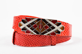 Judith Leiber Red Brown Silver Tone Reptile Leather Enamel Diamond Plate... - $260.00