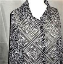 CJ Banks Shirt 1X Black White Geometric Roll Tab Long Sleeve  - $12.82
