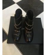 NIB 100% AUTH Chanel 17B G33027 Black Gold Chain Short Boots $1500 Sz 36 - $890.01
