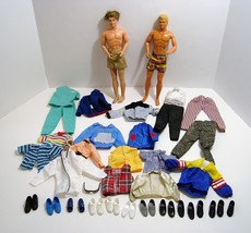 2 Barbie Ken Dolls 1968 Plus Lots of Shoes and Clothes - $34.95
