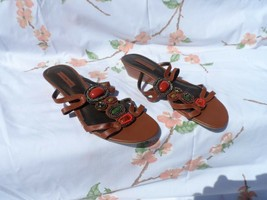 Ladies brown beaded strappy sandal size 8.5M from Bandolino - $11.00