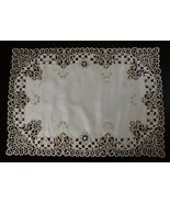 """1 Pcs 16x72"""" Rectangle Beige Polyester Embroidered Cutwork Placemat ELN06 - $40.17"""