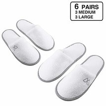 Foorame Spa Slippers, Closed Toe (6 Pairs- 3L, 3M) Disposable Indoor Hot... - $23.33