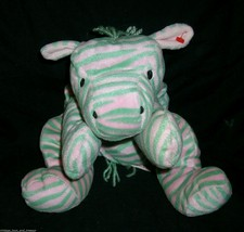 "15"" Vintage 1996 Ty Zulu Pink & Green Zebra Pillow Pal Stuffed Animal Plush Toy - $14.03"