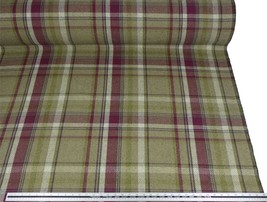 Tartan Check Wool Look and Feel Purple Green Upholstery Fabric Material ... - $3.28