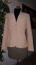 Women's H&M Light Beige Khaki Corduroy Fitted Lined Blazer Jacket Coat Size 8 - $14.93