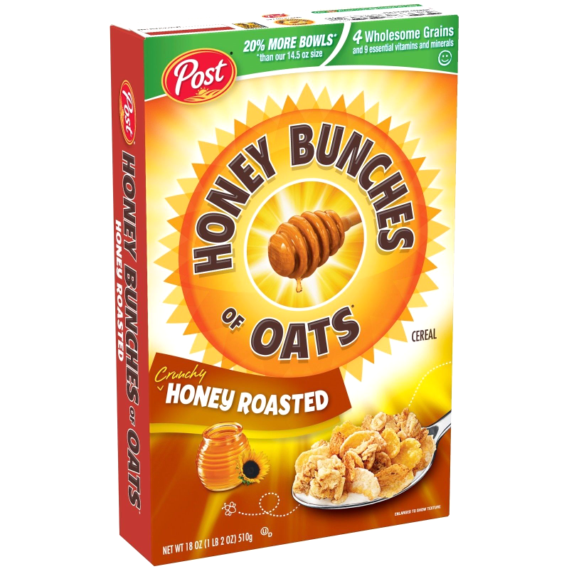 Post Honey Bunches Of Oats Breakfast Cereal, Crunchy Honey Roasted, 18 Oz