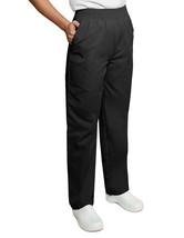Scrub Pants 2XL Adar Black Elastic Waist Uniforms Nursing Ladies 502 Blend New - $19.57
