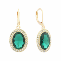 "Monet® Green Drop Dangle Earrings Pierced Lever Back 1"" NWT - $13.86"