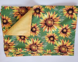 Sunflower Placemats, set of 4, Polyester Yellow Green Reversible Machine Wash image 2