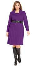 AGB Women's Plus Ribbed Knit Funnel Neck Purple Eggplant Sweater Belted ... - $34.99