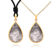 Big Waterdrop Shape Rutile Quartz Handmade Brass Gemstone Necklace Pendant - $9.89+