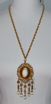 VENDOME Gold Tone Etruscan White Lucite Dangle Bead Runway Medallion Necklace - $98.99
