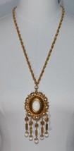 VENDOME Gold Tone Etruscan White Lucite Dangle Bead Runway Medallion Nec... - $98.99