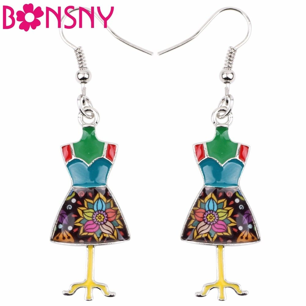 Fashion Big Long Enamel Alloy Clothes Stand Hanger Dangle Drop Earrings 2018 New - $11.34
