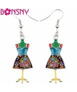 Fashion Big Long Enamel Alloy Clothes Stand Hanger Dangle Drop Earrings ... - $11.34