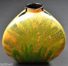 "Handmade & Hand Painted Fern Pattern Pottery Flower Vase 7.25"" Tall Home... - $24.99"