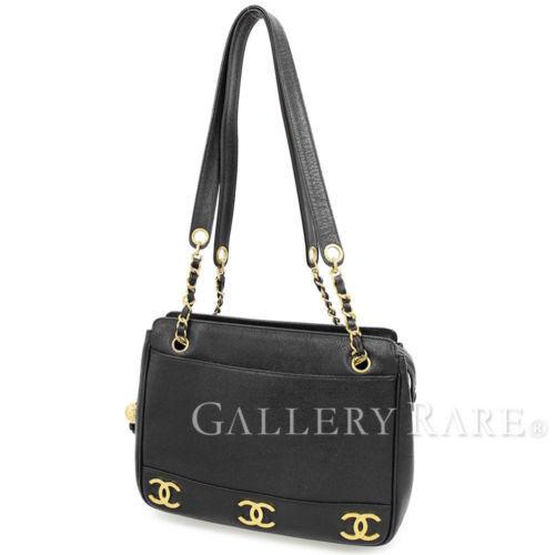 f04fd210ee08 12. 12. CHANEL Chain Tote Bag Triple CC Logo Black Caviar A03675 Italy  Authentic 4731313; CHANEL Chain Tote Bag Triple CC ...