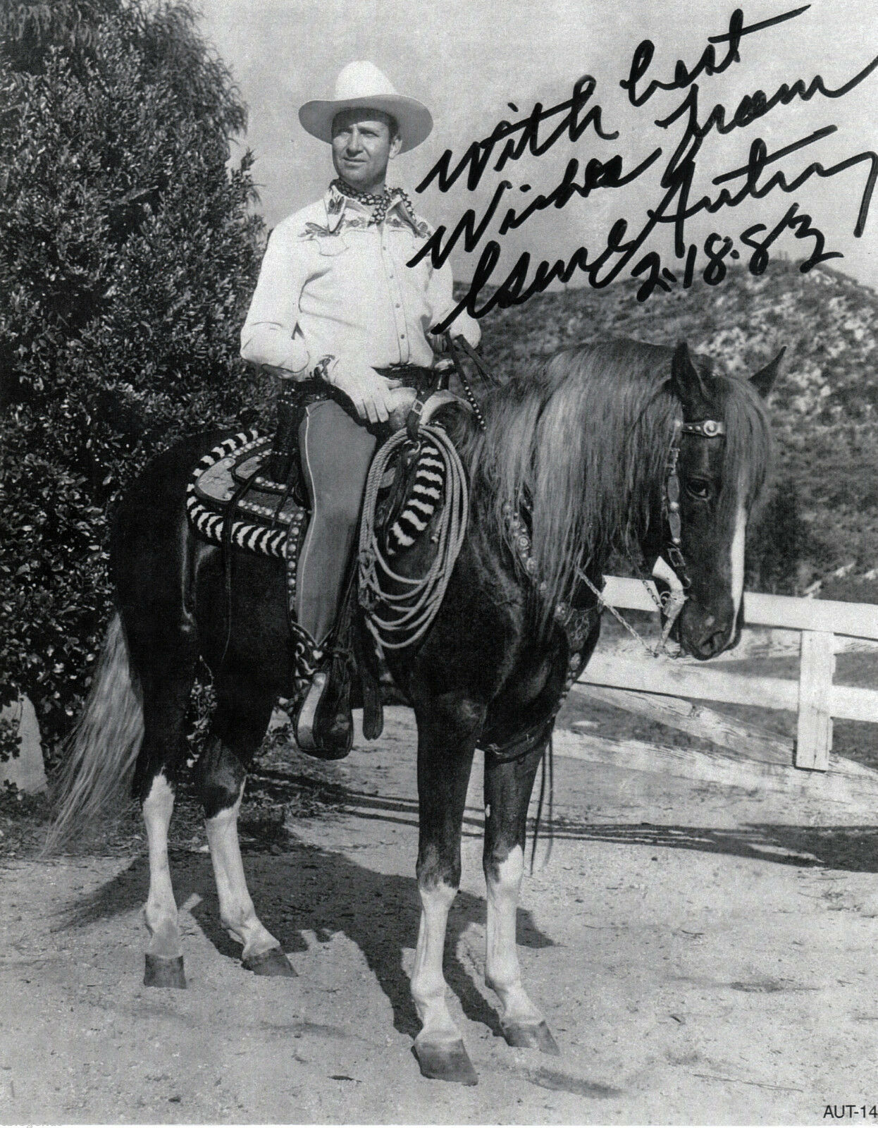 Primary image for GENE AUTRY on Champion  AUTOGRAPHED  REPRINT   AUT-14