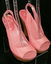 Jessica Simpson 'Genette' pink man made snake print slingback wedges 9.5M image 7
