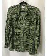 Courtenay Women's Blouse Plus Size 3X Button Down Green White Brick Work... - $16.58