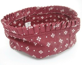 """Longaberger 8"""" Round Fabric Liner Burgundy Ruffled Top Woven Traditions ... - $10.88"""