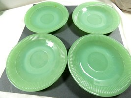 set of 4 Oven Ware Fire King Jadeite Jane Ray saucer green ribbed dinner... - $89.10