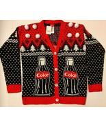 NEW Coca-Cola COKE BOTTLE Sweater Polar Bear Holiday Cardigan 50's Sock ... - $27.72