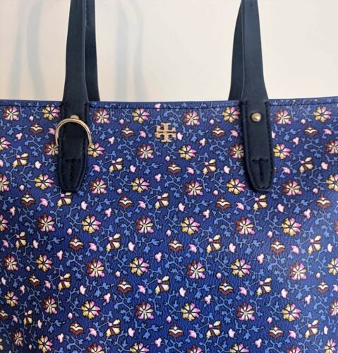 Tory Burch Small Zip Tote ~ Blue Wild Pansy Floral Print New/NWT Kerrington
