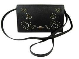 Coach Womens Black F556165 Leather Foldover Crossbody Clutch Wallet 8650-4 - $158.60