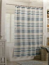 "Threshold 100% Cotton Blue Stripe White Shower Curtain 72"" x 72"" - NEW F... - $46.71"
