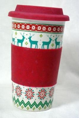 California Pantry Green Reindeer Christmas Travel Mug With Red Silicone Lid/Grip