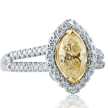 1.49 Ct Marquise Cut Natural Yellow Diamond Engagement Halo Ring 14k White Gold - $2,375.01